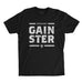 Men's Straight GAINSTER T-shirt - Black premium fitted crew with light grey print