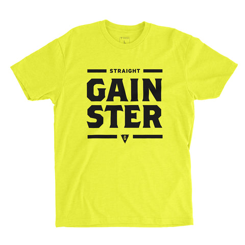 Men's Straight GAINSTER T-shirt - Vibrant Yellow premium fitted crew with Black Print.