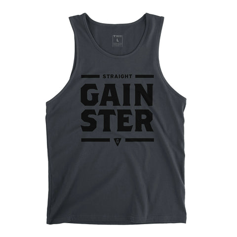Men's Straight GAINSTER Tank Top - Dark Grey with Black Print