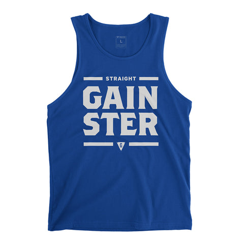 Men's Straight GAINSTER Tank Top - Royal Blue with Light Grey Print.
