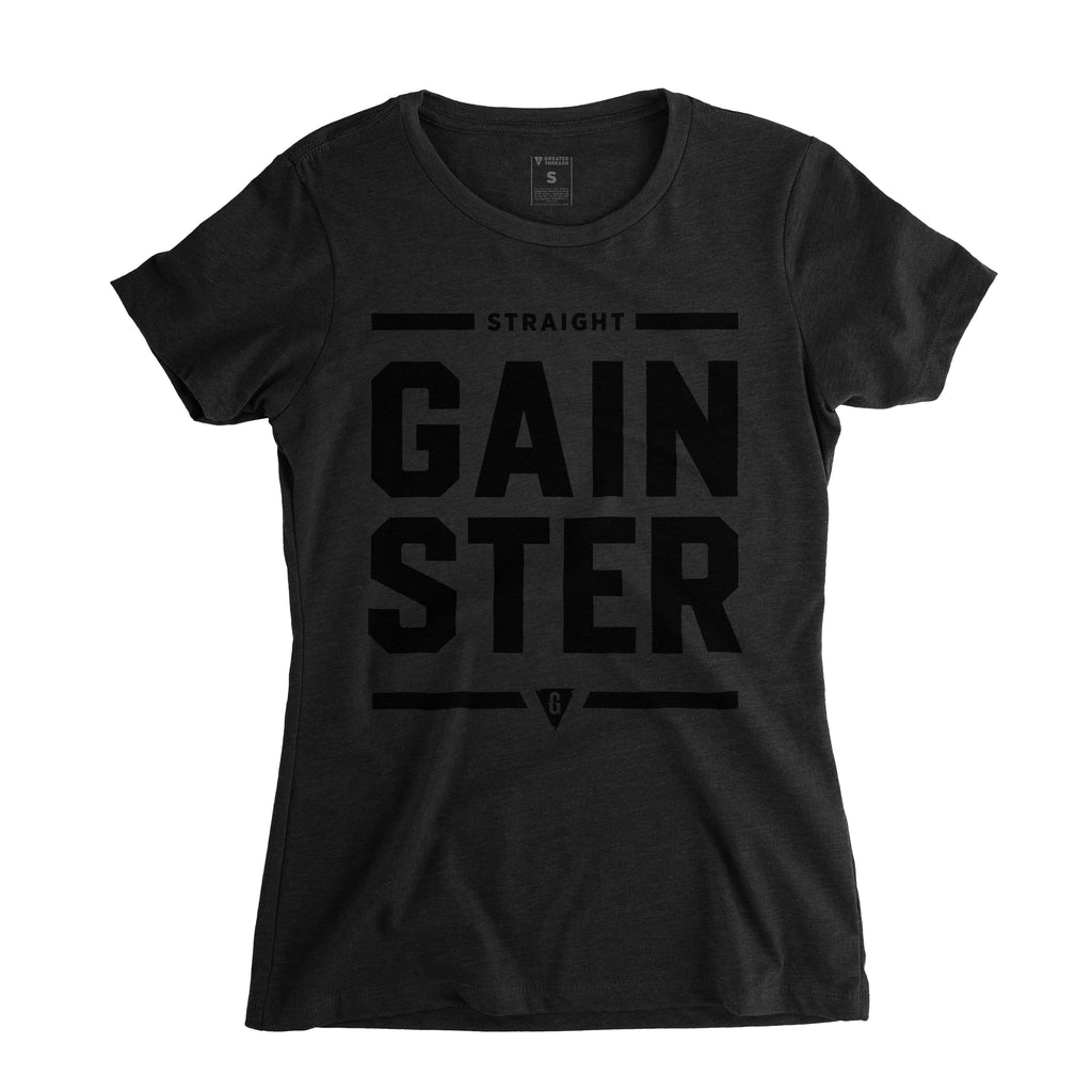 Women's Straight GAINSTER Tee - Black premium fitted crew with black print