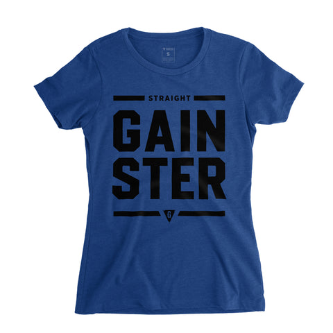 Women's Straight GAINSTER Tee - Royal blue premium fitted crew with black print