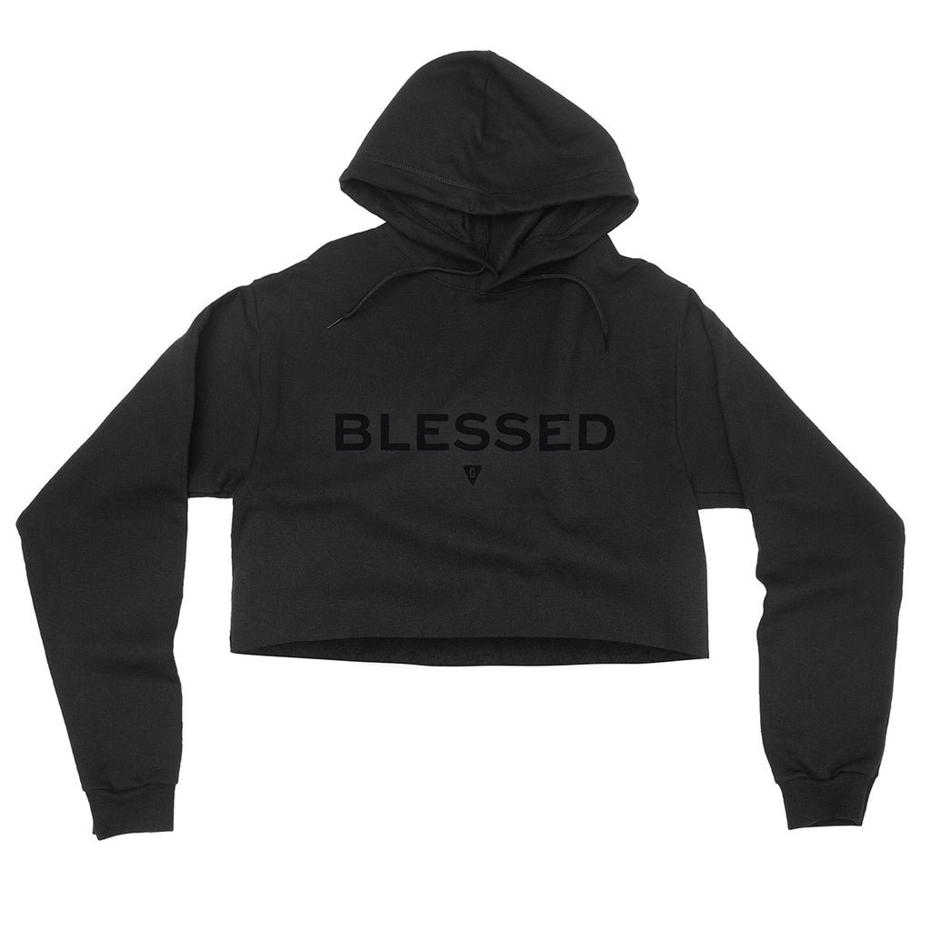 Women's Blessed Flowy Crop Hood - Black with Black Print