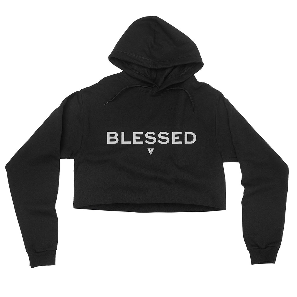 Women's Blessed Flowy Crop Hood - Black with Gray Print