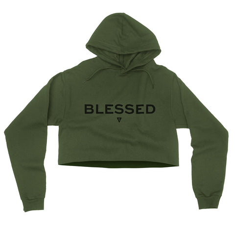 Women's Blessed Flowy Crop Hood - Army Green with Black Print