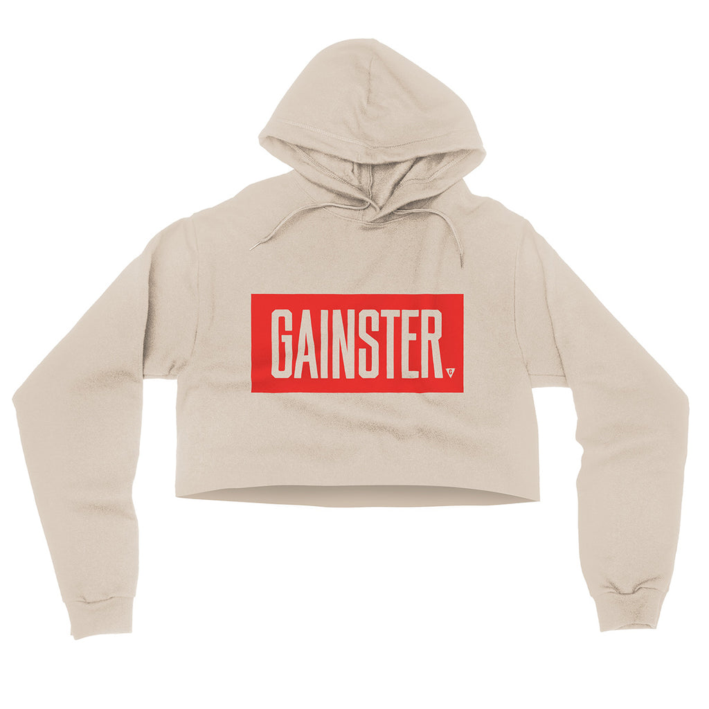 Women's GAINSTER Block Flowy Crop Hood - Dust with Red Print