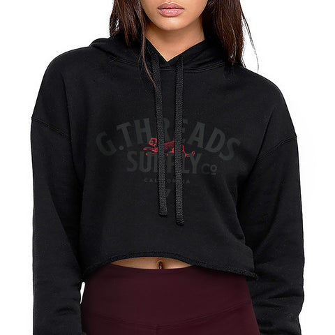 Women's G.Threads Supply Co. Flowy Crop Hood - Black with Black and Red Print