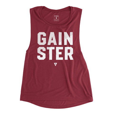 Women's GAINSTER Mesh Premium Muscle Tank - Maroon with White Mesh Print