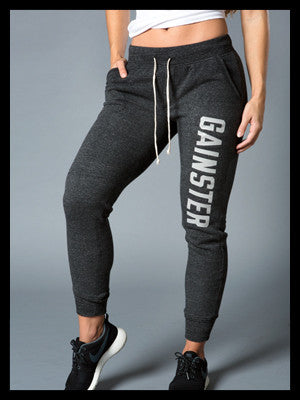 Women's GAINSTER Fleece Jogger - Ash Black with Gray GAINSTER Print