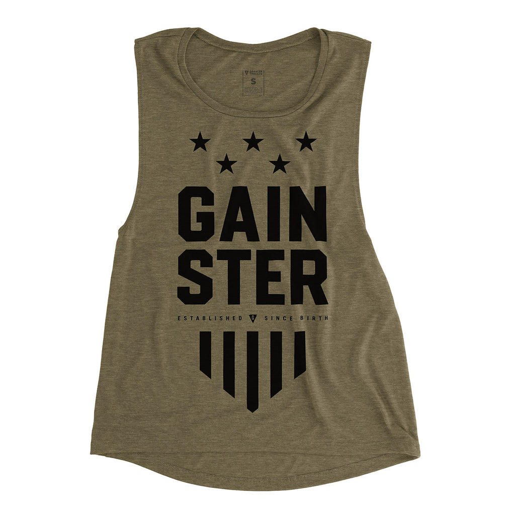 Women's GAINSTER Stars and Stripes Premium Muscle Tank - Army Green with Black Print