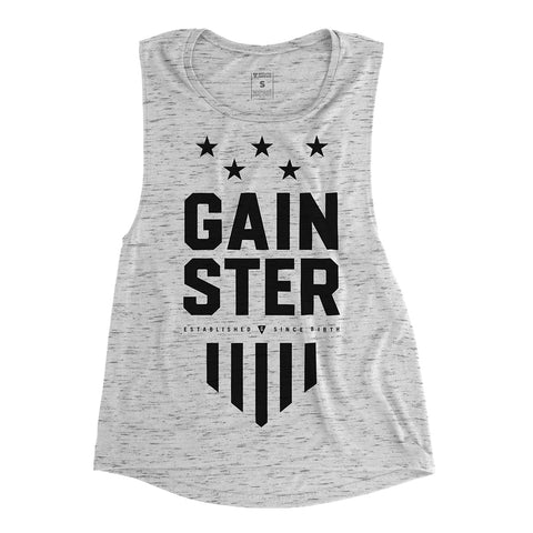 Women's GAINSTER Stars and Stripes Premium Muscle Tank - White Marble with Black Print