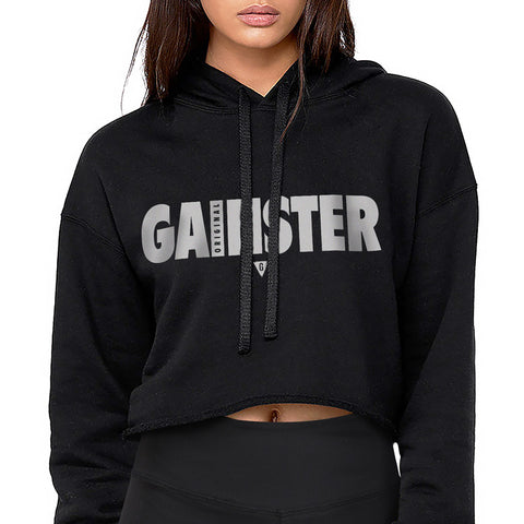 Women's Original GAINSTER Flowy Crop Hood - Black with White and Black Print