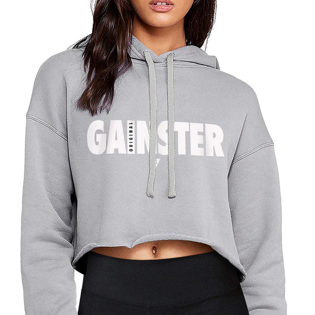 Women's Original GAINSTER Flowy Crop Hood - Light Gray with White and Black Print