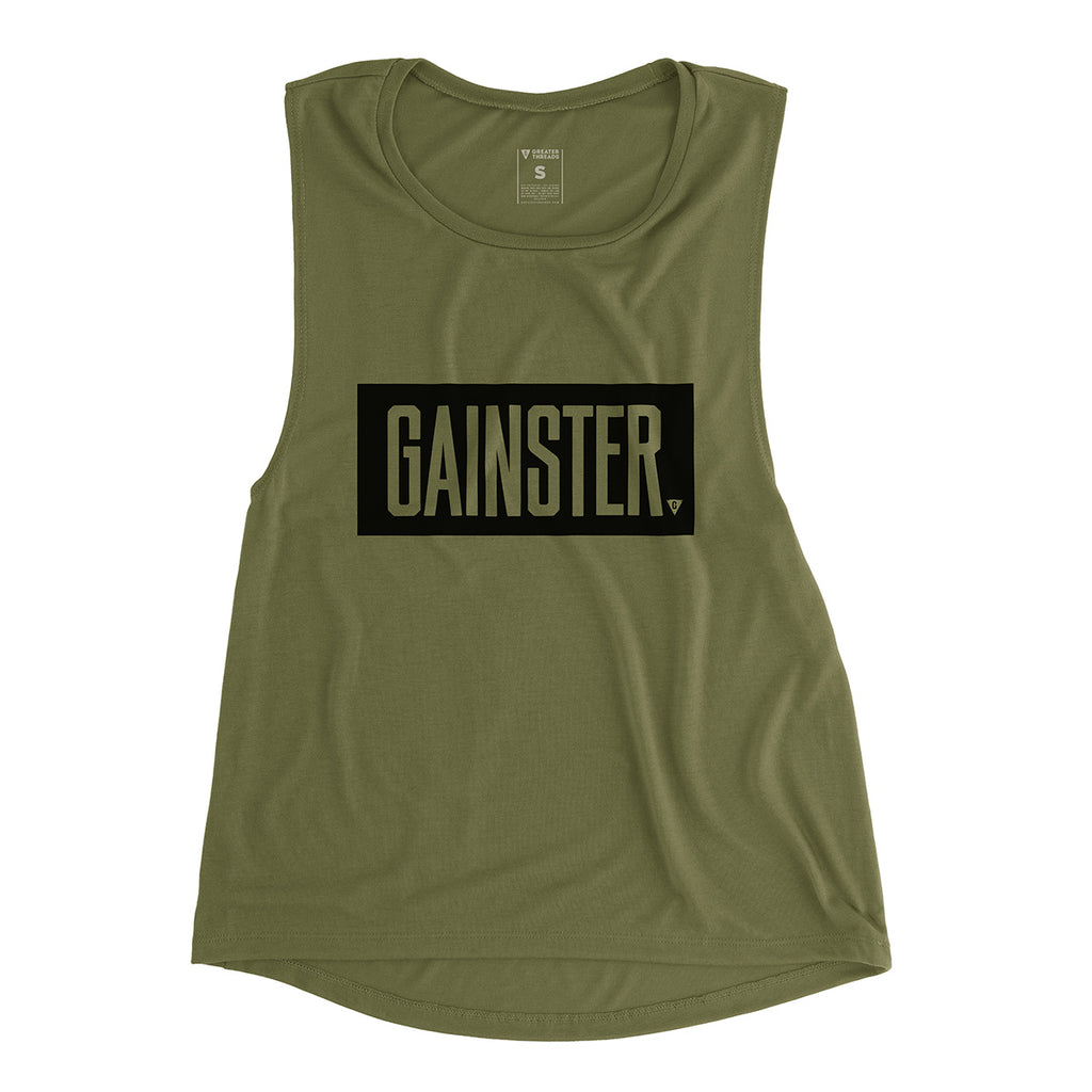 Women's GAINSTER Block Muscle Tank - Army Green with Black Print