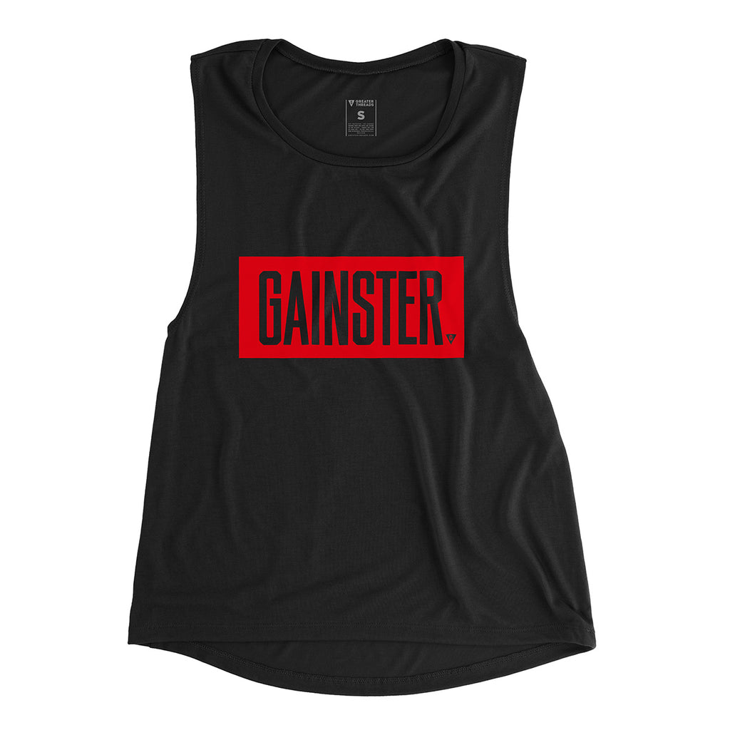 Women's GAINSTER Block Muscle Tank - Black with Red Print