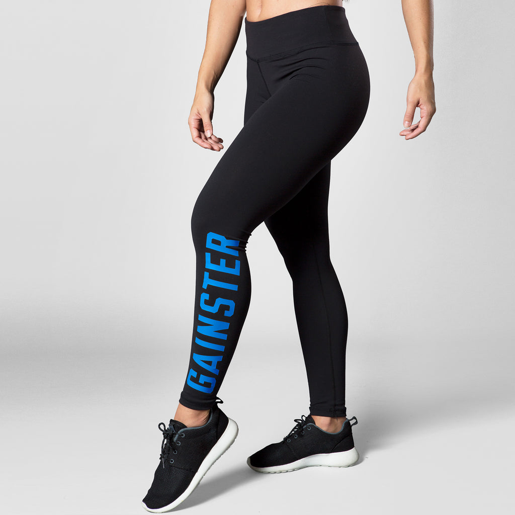 Women's GAINSTER Compression Training Tights - Black with Blue Print