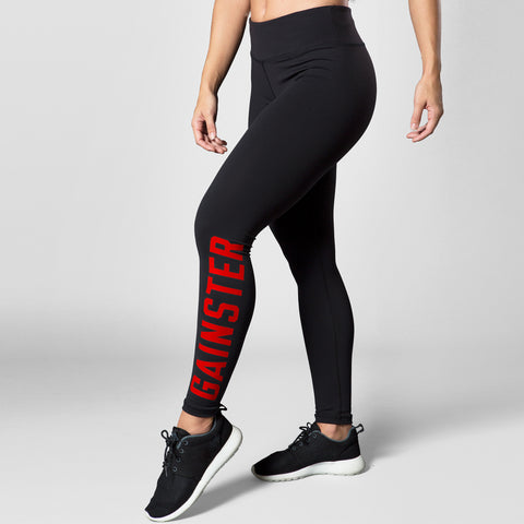 Women's GAINSTER Compression Training Tights - Black with Red Print