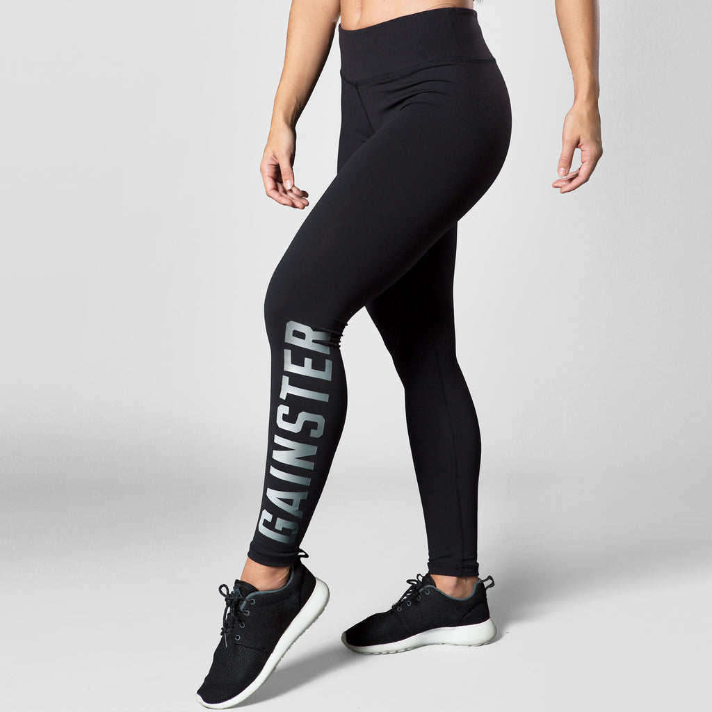 Women's GAINSTER Compression Training Tights - Black with Silver Print