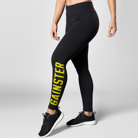 Women's GAINSTER Compression Training Tights - Black with Yellow Print
