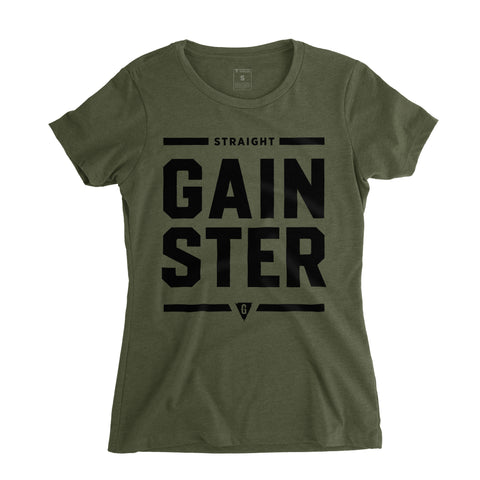 Women's Stacked Straight GAINSTER Tee - Army green premium fitted crew with black print