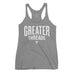 Women's GreaterThreads Tank Top - Dark Heather Gray with White Print.