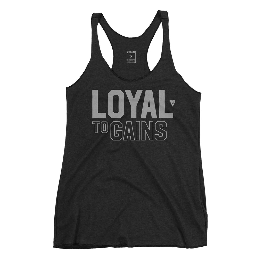 Women's Loyal to GAINS Tank Top - Vintage Black with Gray Print