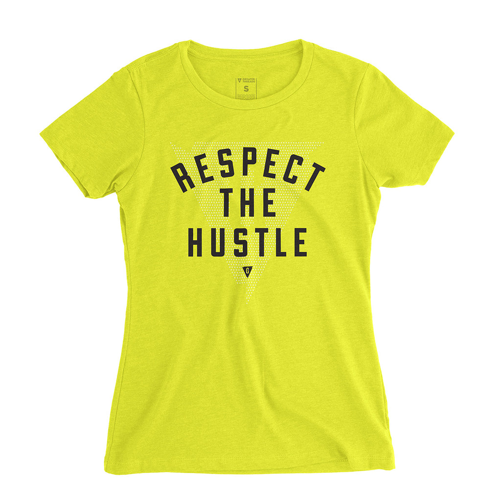 Women's Respect the Hustle Tee - Neon yellow premium fitted crew with black print and white logo print