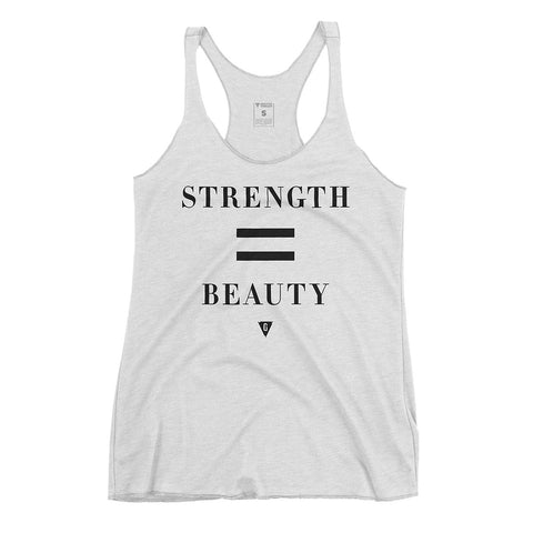 Women's Strength = Beauty Tank Top - Vintage White with Black Print