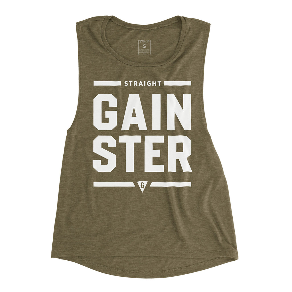 Women's Straight GAINSTER Premium Muscle Tank - Army Green with White Print