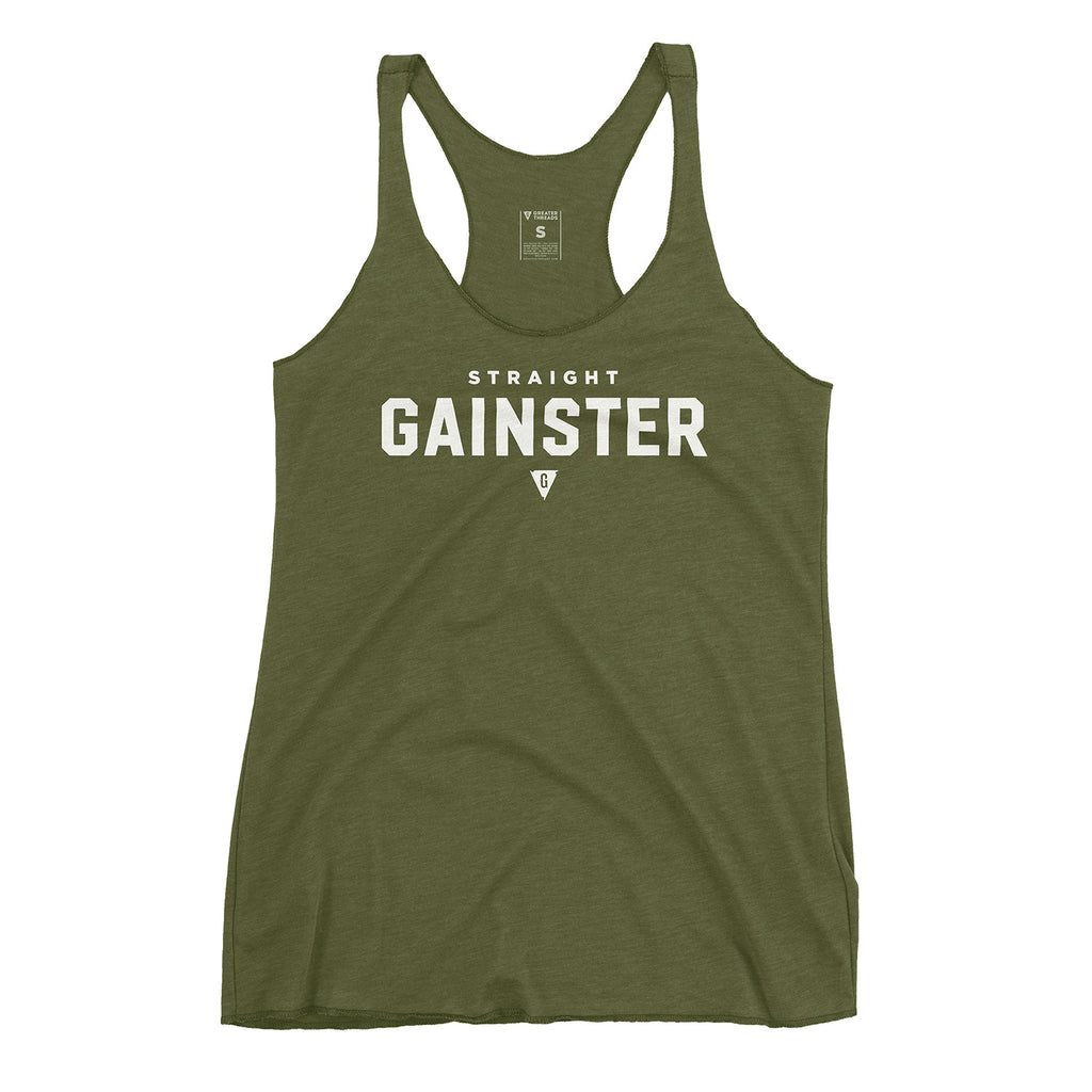 Women's Straight GAINSTER Tank Top - Army Green with White Print