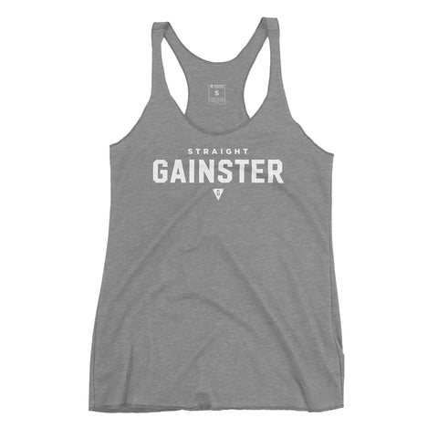 Women's Straight GAINSTER Tank Top - Athletic Gray with White Print