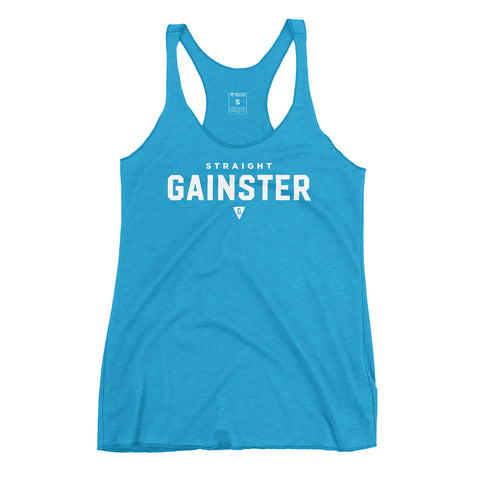 Women's Straight GAINSTER Tank Top - Turquoise with White Print