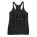 Women's Stacked Straight GAINSTER Tank Top - Vintage Black with Black Print