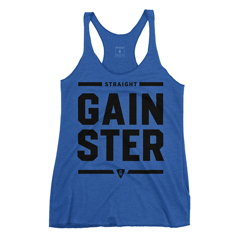 Women's Stacked Straight GAINSTER Tank Top - Vintage Royal with Black Print