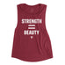 Women's Strength=Beauty Premium Muscle Tank - Maroon with White Print