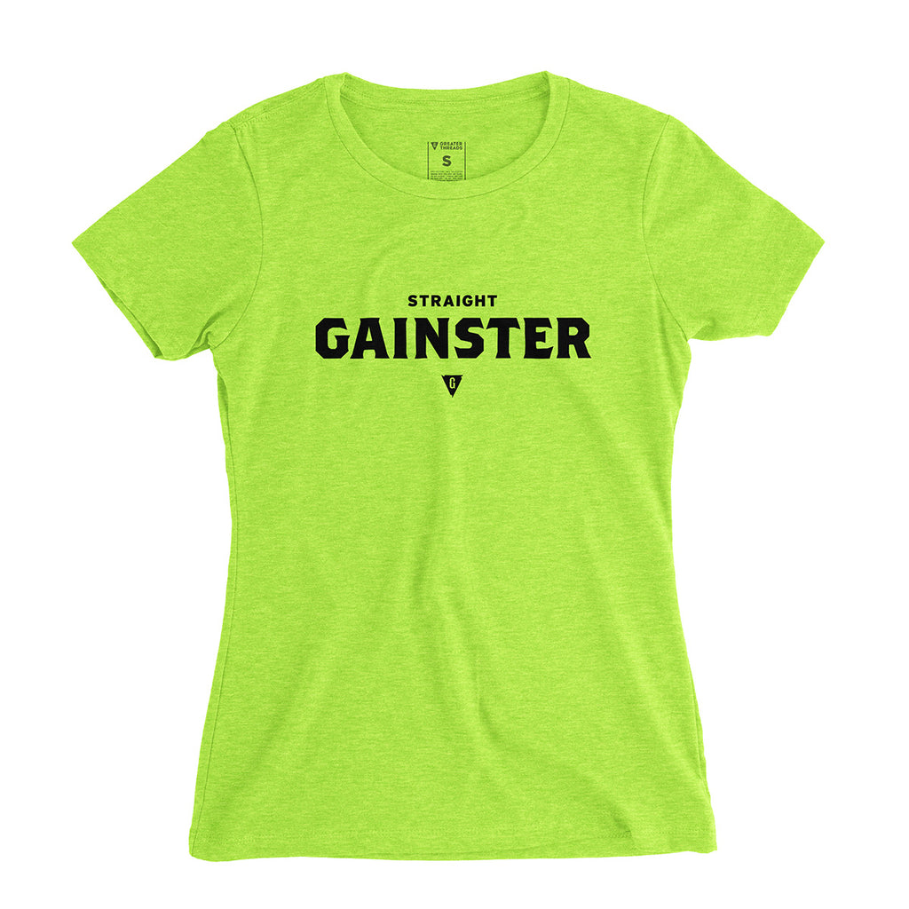Women's Straight GAINSTER Tee - Neon green premium fitted crew with black print