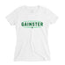 Women's Straight GAINSTER Tee - White premium fitted crew with two-tone green print