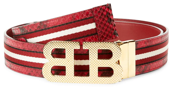 Bally Iconic Buckle Mirror Stripe Belt