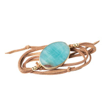 Load image into Gallery viewer, Amazonite, Suede and Gold Wrap - Indie Indie Bang! Bang!