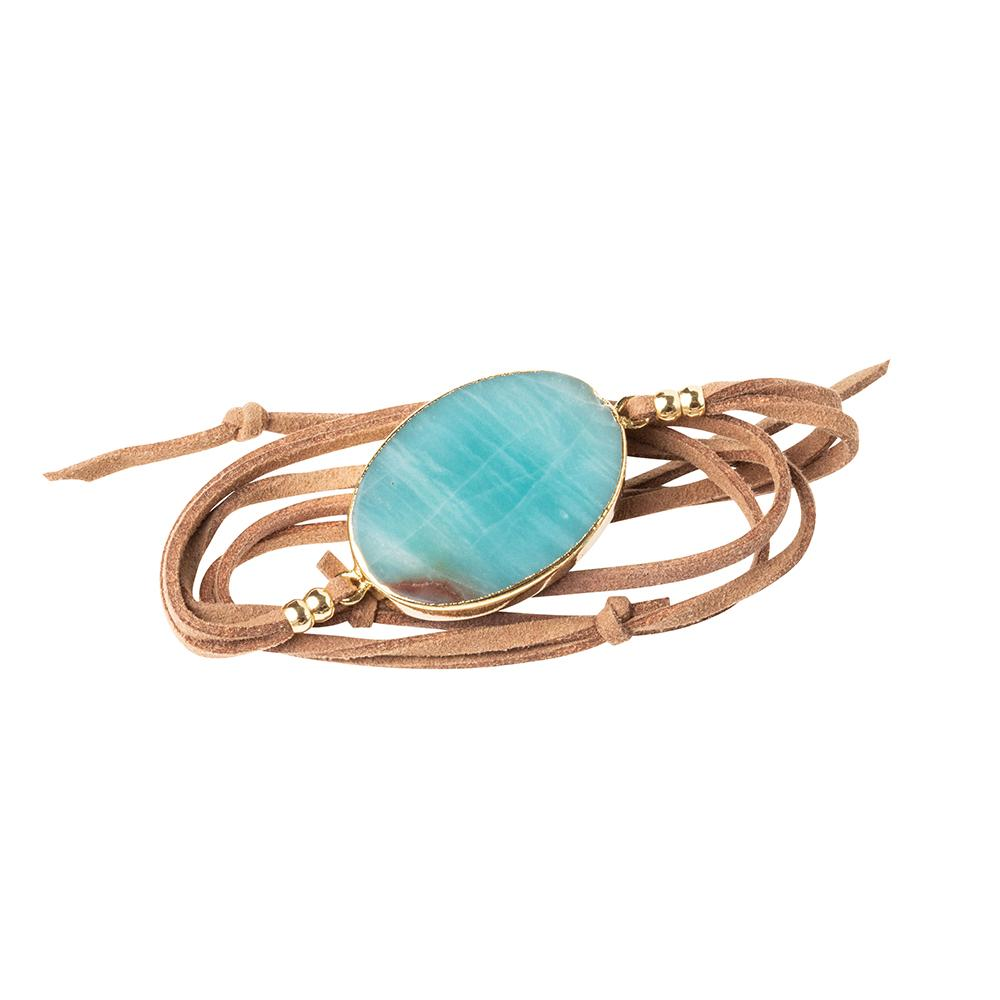 Amazonite, Suede and Gold Wrap - Indie Indie Bang! Bang!