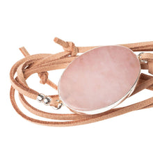 Load image into Gallery viewer, Rose Quartz, Suede and Silver Wrap - Indie Indie Bang! Bang!