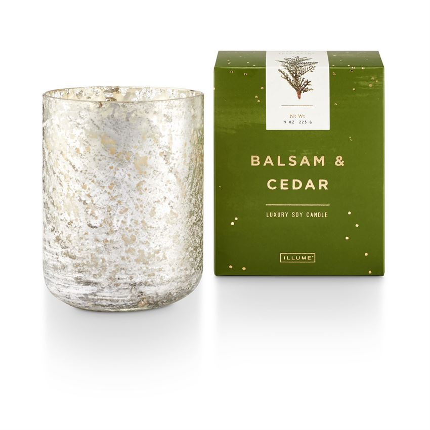 Balsam & Cedar Small Luxe Sanded Mercury Glass Candle - Indie Indie Bang! Bang!
