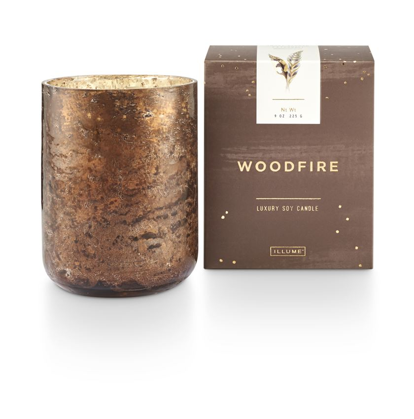 Woodfire Small Luxe Sanded Mercury Glass Candle - Indie Indie Bang! Bang!
