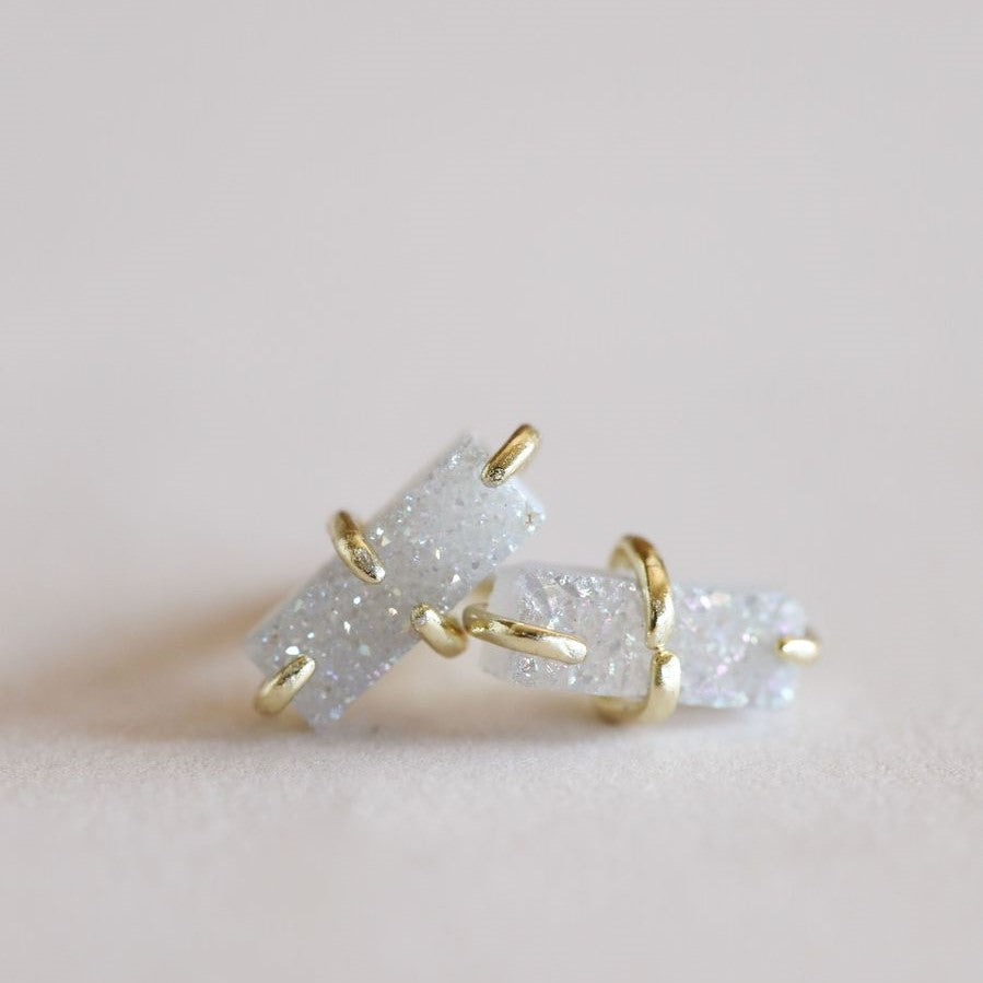 White Gold Bar Druzy Earrings - Indie Indie Bang! Bang!
