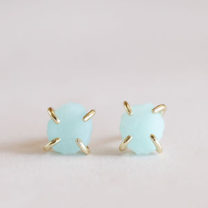 Amazonite Gemstone Prong Earrings - Indie Indie Bang! Bang!