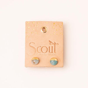 Amazonite Gold Dipped Studs - Indie Indie Bang! Bang!