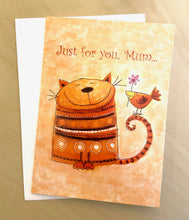 Load image into Gallery viewer, Cat with Bird Greeting Card - Indie Indie Bang! Bang!