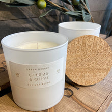 Load image into Gallery viewer, Citrus & Olive Print Block Candle - 50 hour - Indie Indie Bang! Bang!
