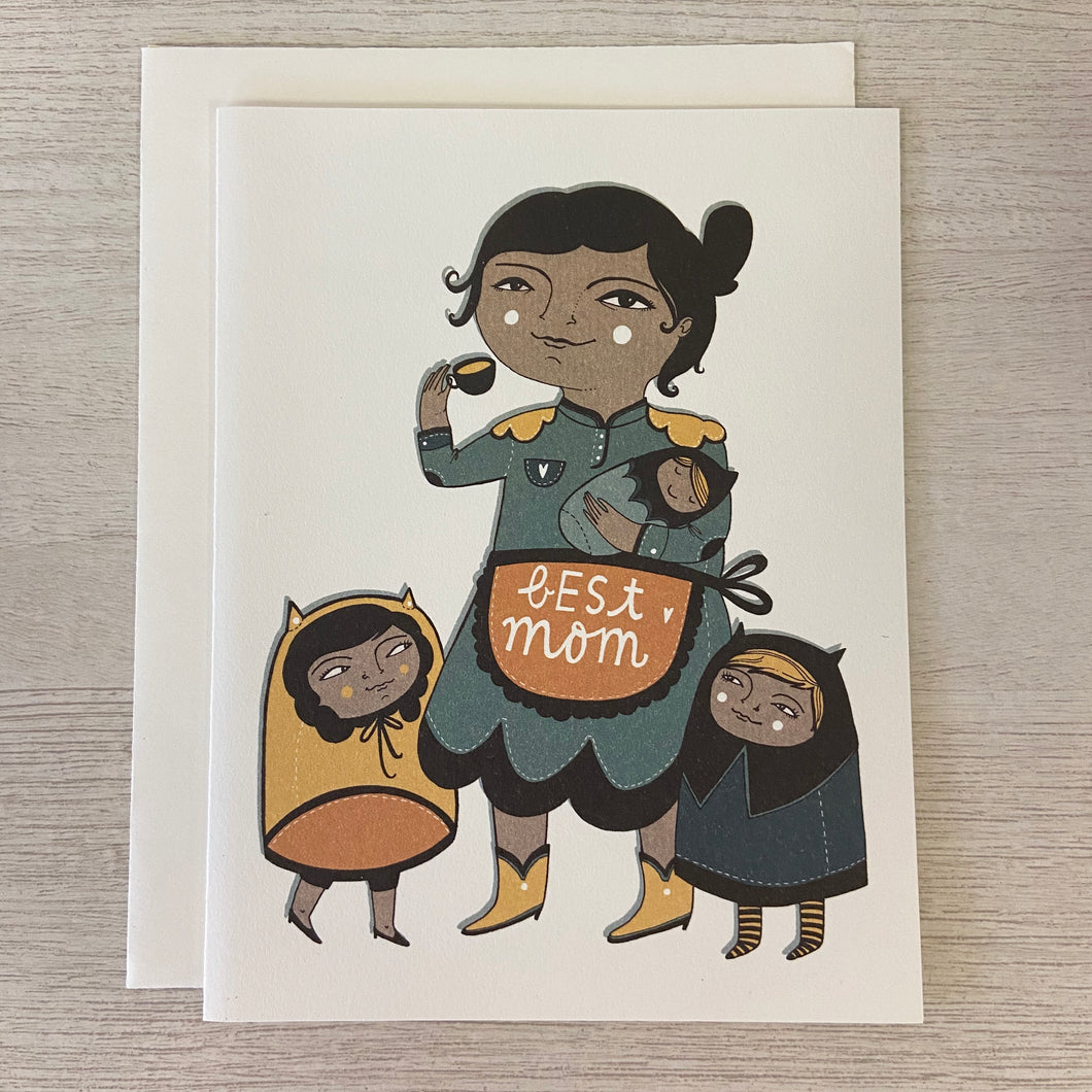 Best Mom Apron Greeting Card - Indie Indie Bang! Bang!