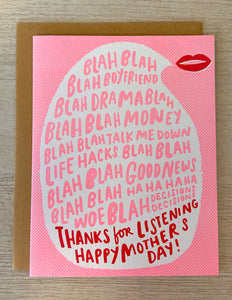 Thanks for Listening Mother's Day Greeting Card - Indie Indie Bang! Bang!